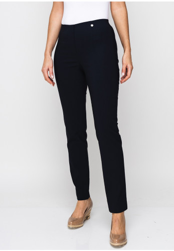 Robell Marie Stretch Slim Fit Trousers, Navy