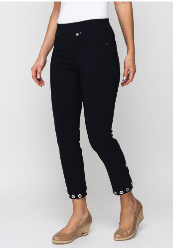 Robell Rose 09 Rivet Trim Cropped Trousers, Navy