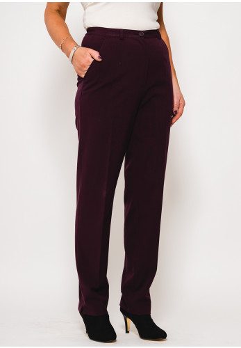 Robell Pia Comfort Fit Straight Trousers, Wine