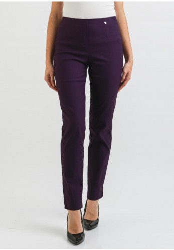 Robell Marie Fleece Lined Slim Trousers, Purple
