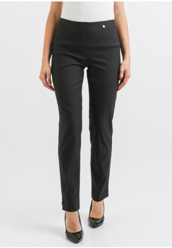 Robell Marie Fleece Lined Slim Trousers, Charcoal