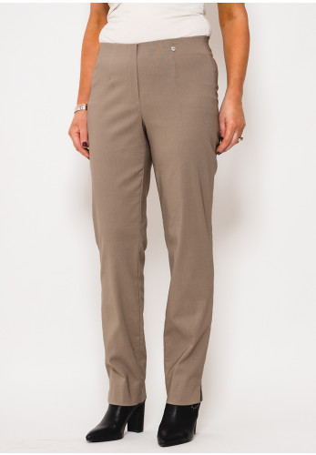 Robell Marie Stretch Slim Fit Trousers, Taupe