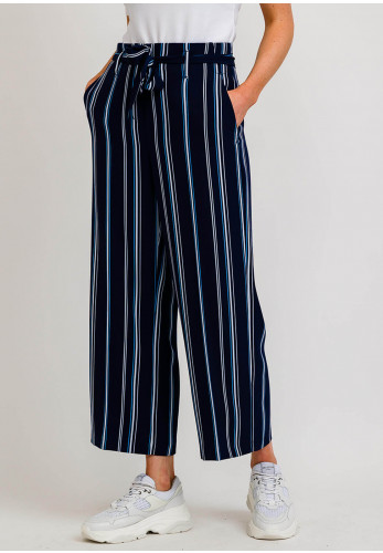 Robell Emma 09 Striped Culotte Trousers, Navy