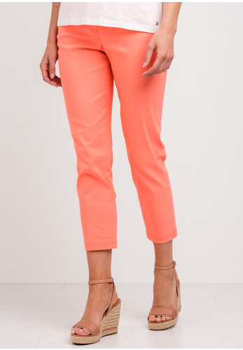 Robell Bella 09 Slim Cropped Trousers, Coral Orange