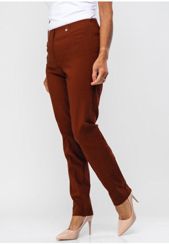 Robell Bella Full Length Stretch Trousers, Rust