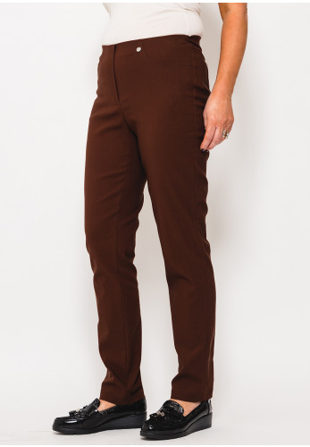 Robell Bella Full Length Stretch Trousers, Brown