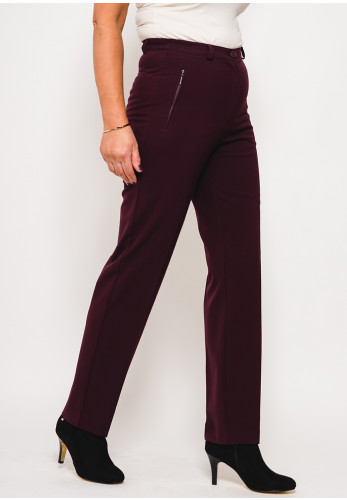 Robell Marie Stretch Slim Fit Trousers, Aubergine