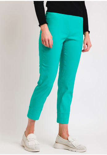 Robell Bella 09 Turn Up Cropped Trousers, Jade Green