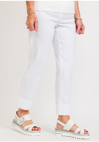 Robell Bella 09 Turn Up Ankle Grazer Trousers, White
