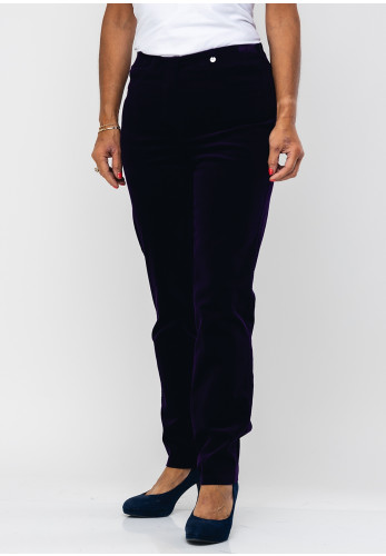 Robell Bella Slim Fit Cord Trousers, Purple