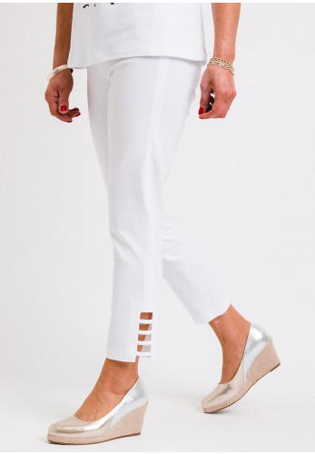 Robell Lena 09 Slim Fit Stretch Cropped Trousers, Cream