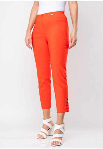 Robell Lena 09 Slim Fit Stretch Cropped Trousers, Orange