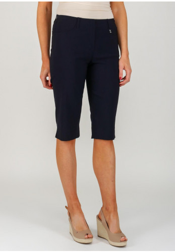 Robell Lexi 05 Slim Fit Knee Length Shorts, Navy