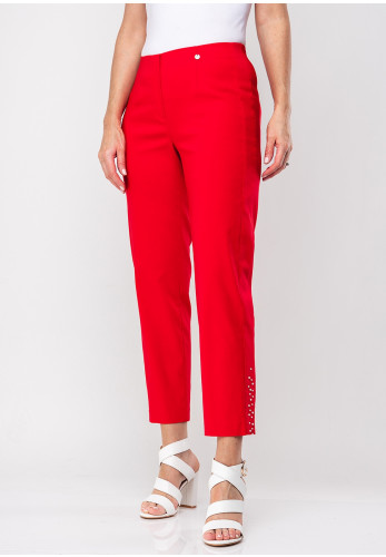 Robell Marie 09 Pearl Trim Slim Trousers, Red