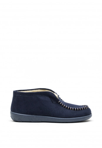 Rohde Wool Lined Stitch Detail Slippers, Navy