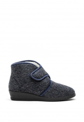 Rohde Wool Lined Velcro Slipper Boots, Grey