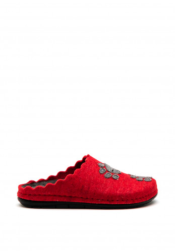 Rohde Paw Print Wool Mule Slippers, Red