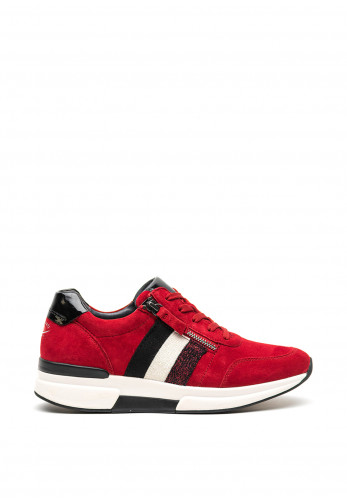 Gabor Leather Suede Wedged Trainers, Red