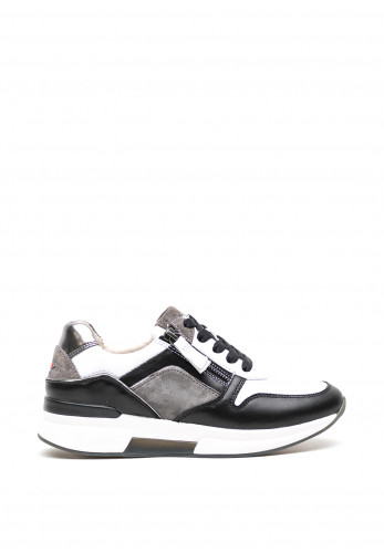 Gabor Leather Monochrome Trainers, Black and White
