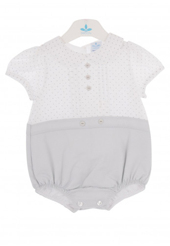 Sardon Baby Polka Dot Romper Suit, Grey