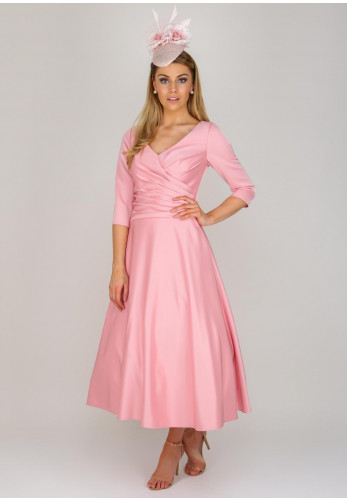 Ronald Joyce Occasions Crepe Tea Dress, Pink