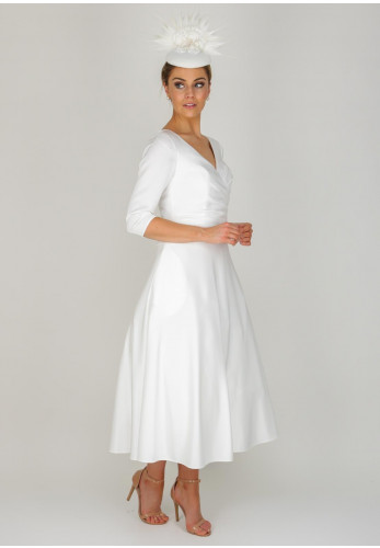 Ronald Joyce Occasions Crepe Tea Dress, White