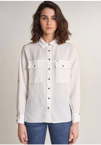 Salsa Pocket Detail Linen Mix Shirt, White