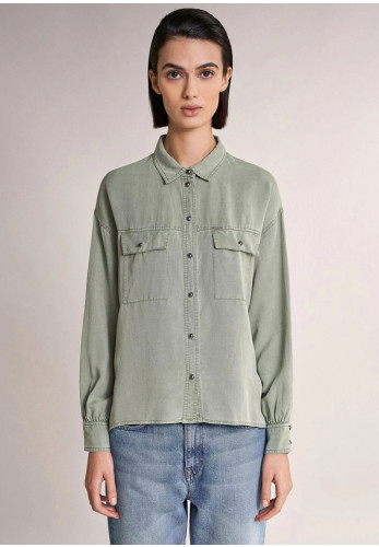 Salsa Pocket Detail Linen Mix Shirt, Green