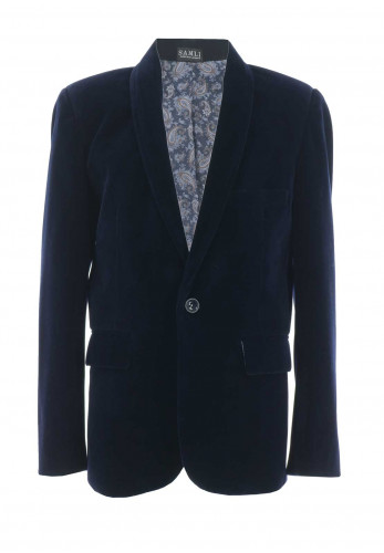 Boutique Boys Velvet Blazer, Navy