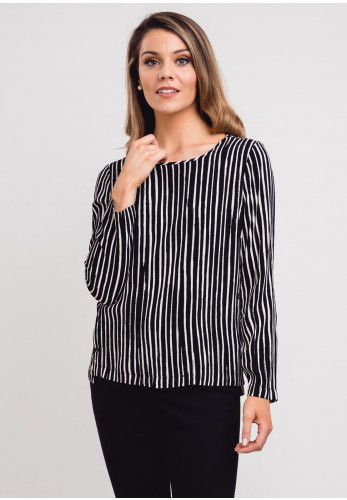 Sandwich Button Trim Stripe Top, Black & White