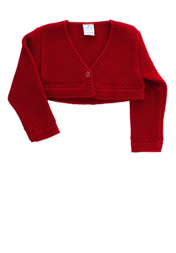 Sardon Baby Girls Knit Bolero Cardigan, Red