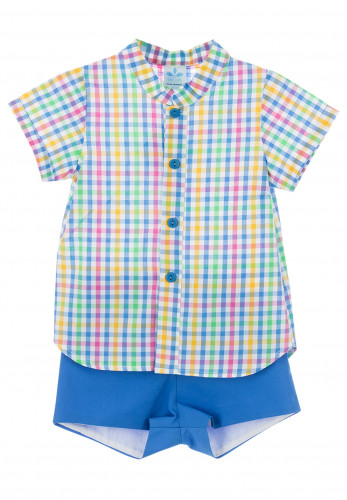 Sardon Baby Boys Gingham Shirt and Shorts Set, Multi