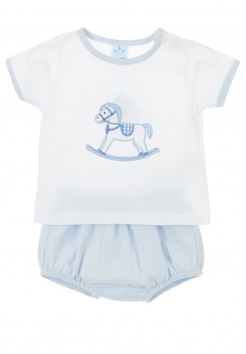Sardon Baby Boys Rocking Horse Top and Shorts Set, Blue