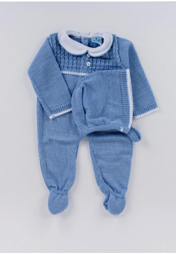Sardon Baby Boys Crochet Babygrow and Hat Set, Blue