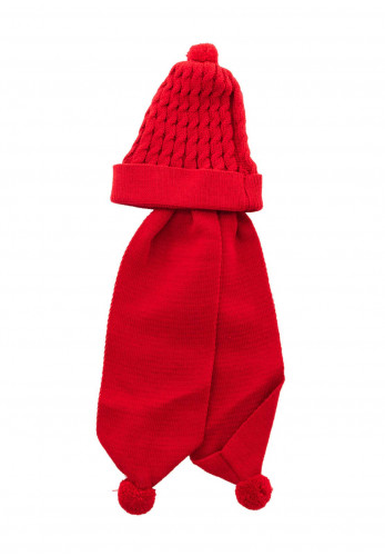Sardon Baby Knitted Hat with Ear Warmers, Red