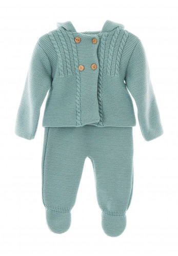 Sardon Baby Knitted Long Sleeve Jacket and Bottoms Set, Teal