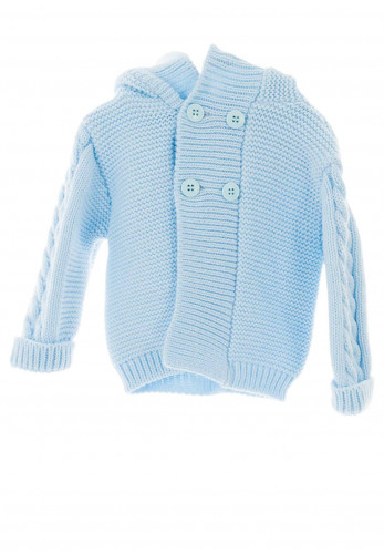 Sardon Baby Knitted Jacket With Hood, Blue