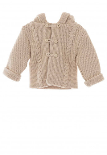 Sardon Baby Knitted Jacket With Hood, Beige