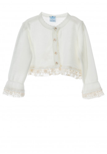 Sardon Baby Girls Knit Bolero Cardigan, White