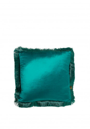 Scatterbox Lexi Velvet Fringed 43 x 43cm Feather Filled Cushion, Teal