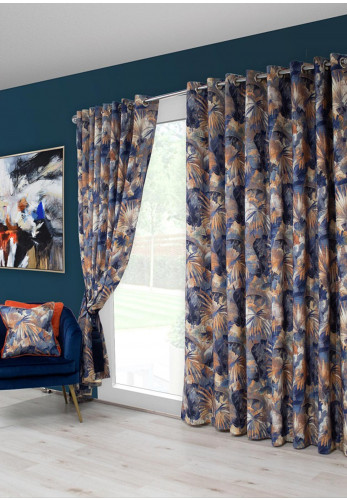 Scatterbox Aria 75x90 Eyelet Ready Fully Lined Curtains, Blue & Orange