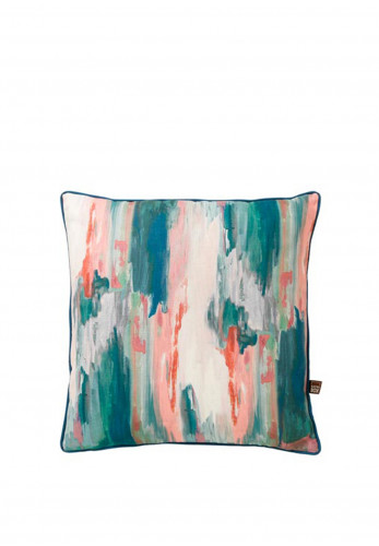 Scatterbox Luxurious Feather Filled Brindle Cushion, Teal/Blush