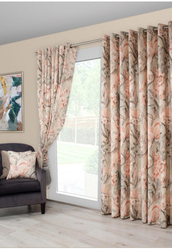 Scatterbox Edie Eyelet Ready Fully Lined Curtains, Blush & Sage