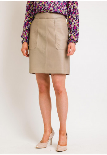 Second Female Francie Leather Mini Skirt, Humus