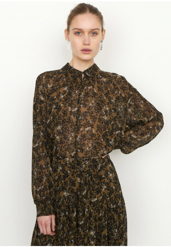 Second Female Simone Ditsy Floral Blouse, Burnt Olive