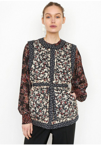 Second Female Annie Floral Print Quilted Waistcoat, Black Multi