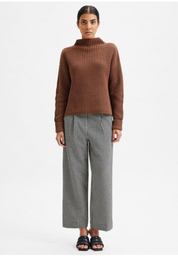 Selected Femme Selma Long Sleeve Knitted Jumper, Carafe