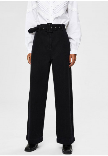 Selected Femme Willow Wide Leg Jeans, Black