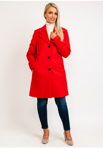 Selected Femme Single Breasted Wool Rich Long Coat, Red