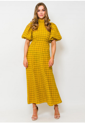 Selected Femme Checkie Ruffle Trim Checked Dress, Mustard & Black